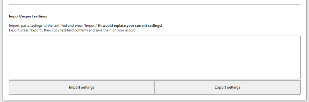 Import/export settings UI